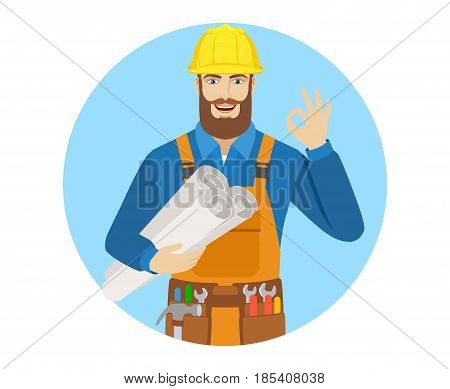 Worker holding the project plans and showing a okay hand sign. Portrait of worker character in a flat style. Vector illustration.
