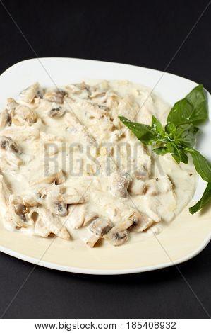 Chicken Fillet With Mushrooms In Creamy Sauce. Italian Style. Italian Food. Italian Cuisine.