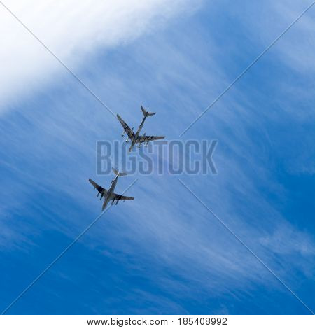 SARATOV RUSSIA - MAY 6 2017: Russian bomber and tanker. Aircraft in the sky. Bottom view.