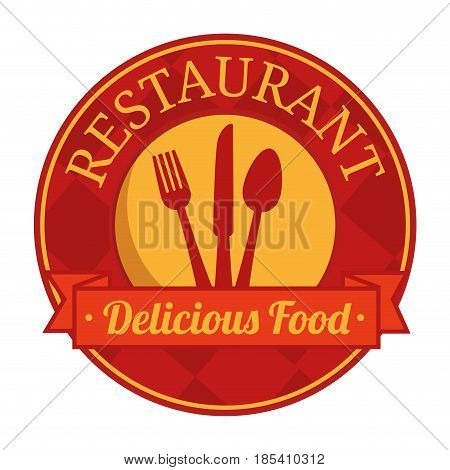 Red and yellow restaurant sign with silverware silhouette over white background. Vector illustration.