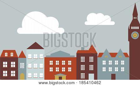 European city buildings, flat vectors. Generic town landscape in bright colors. Add your text.