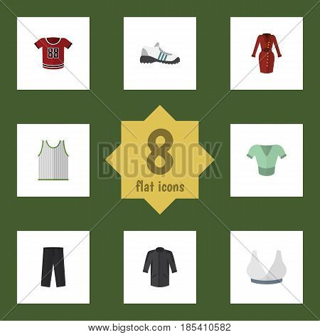 Flat Clothes Set Of Clothes, Brasserie, Sneakers And Other Vector Objects. Also Includes Blouse, Gumshoes, Sneakers Elements.