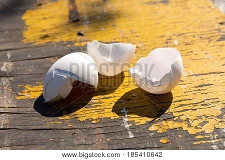 The Pista Shell Eggs On An Old Table . The Concept Of Poverty .