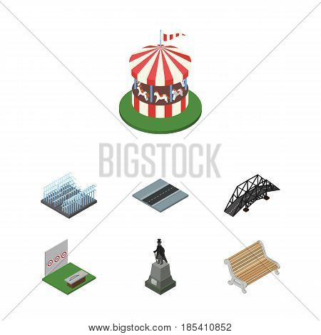 Isometric Urban Set Of Carousel, Fountain, Sculpture And Other Vector Objects. Also Includes Horses, Sculpture, Park Elements.