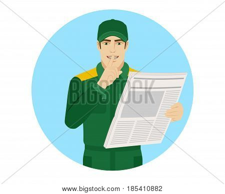 Hush hush. Worker with newspaper showing hush-hush sign. Portrait of Delivery man or Worker in a flat style. Vector illustration.