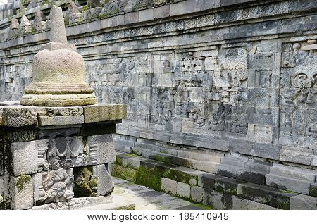 Bell in the Borobudur Buddhist temple in Indonesia Java