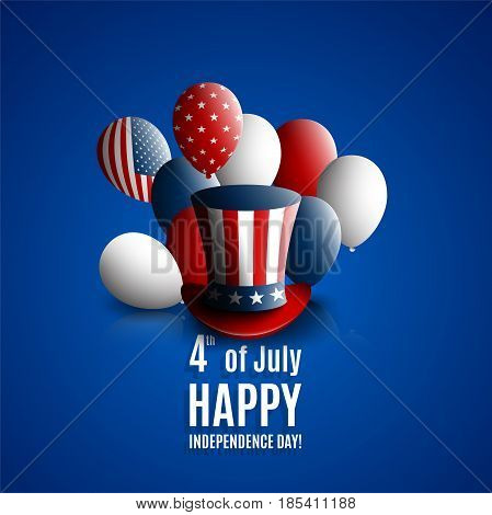 Fourth of july independence day of the usa. Holiday background with patriotic american signs - president's hat balloons stars and stripes. Stock vector
