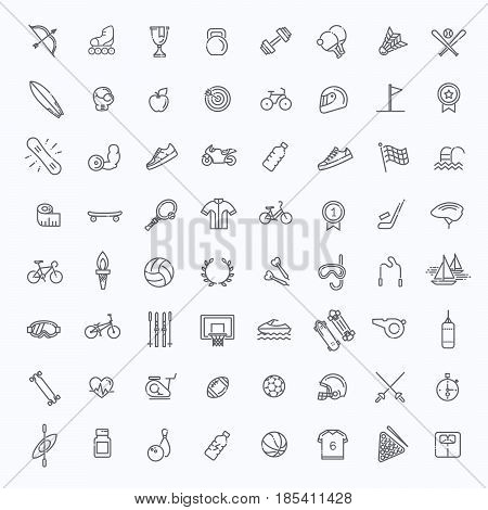 Outline web vector outline icon set - sport and fitness