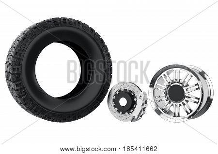 Car wheel metal brake with chrome disk. 3D rendering