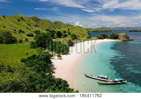 Indonesia Komodo National Park - islands for diving and exploring. The most tourist popular destination in Indonesia.