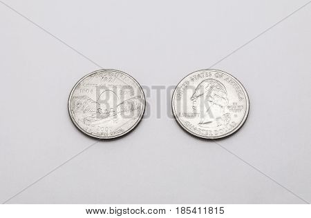 Closeup To Missouri State Symbol On Quarter Dollar Coin On White Background
