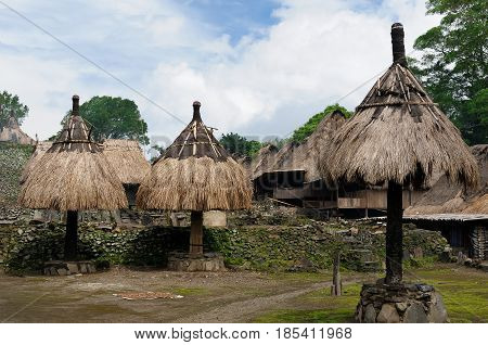 Traditional ethnic village on an island Flores in Indonesia being a main tourist attraction of the region