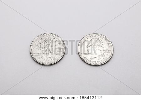Closeup To Vermont State Symbol On Quarter Dollar Coin On White Background