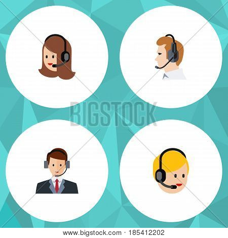 Flat Telemarketing Set Of Service, Call Center, Hotline And Other Vector Objects. Also Includes Secretary, Online, Call Elements.