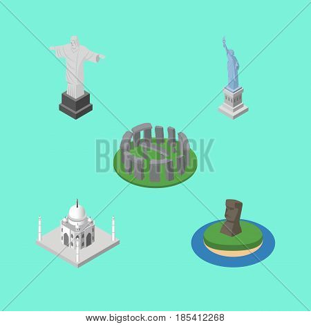 Isometric Architecture Set Of Chile, Rio, New York And Other Vector Objects. Also Includes America, Historic, Stonehenge Elements.