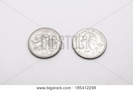 Closeup To South Carolina Symbol On Quarter Dollar Coin On White Background