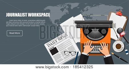 Journalist Work space. Flat background with Typewriter, newspaper, coffee. Journalist Concept