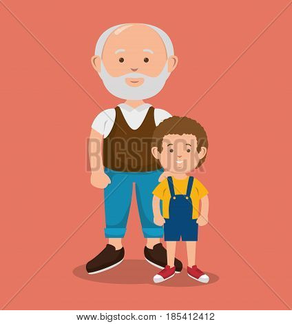 Old man next to  kid over peach background. Vector illustration.