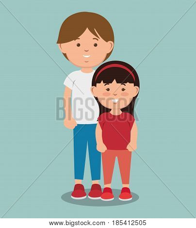 Teenager boy standing  next to girl over blue background. Vector illustration.