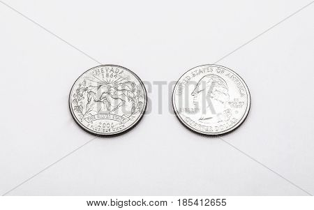 Closeup To Nevada State Symbol On Quarter Dollar Coin On White Background
