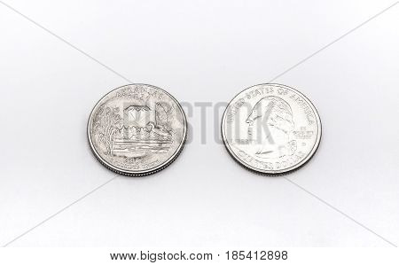 Closeup To Arkansas State Symbol On Quarter Dollar Coin On White Background