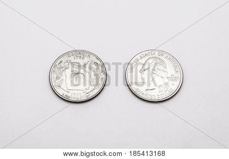 Closeup To Georgia State Symbol On Quarter Dollar Coin On White Background
