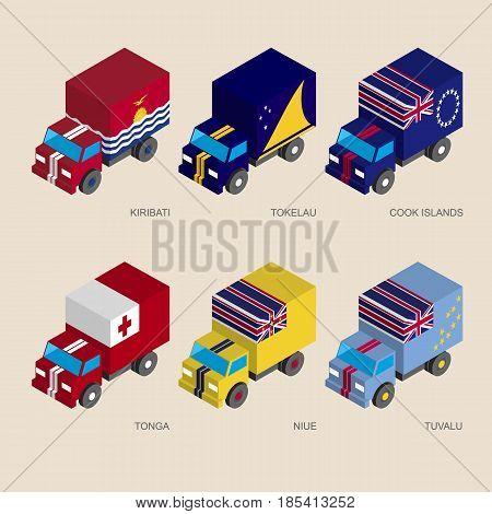 Isometric 3d cargo trucks with flags of countries in Oceania. Cars with standards - Kiribati, Tokelau, Cook Islands, Tonga, Niue, Tuvalu.