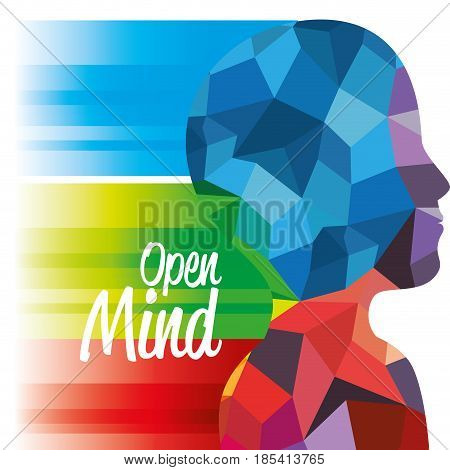 Side view of upper human body silhouette with colorful geometric shapes and open mind sign over white background.