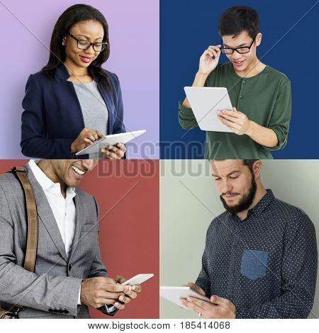 Collage of people using digital device techie