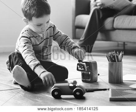 Family Love Parents Supervise Little Children