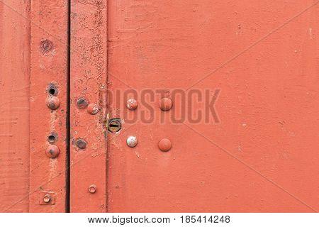 Detail Of The Painted Metal Door With Lock, Closeup