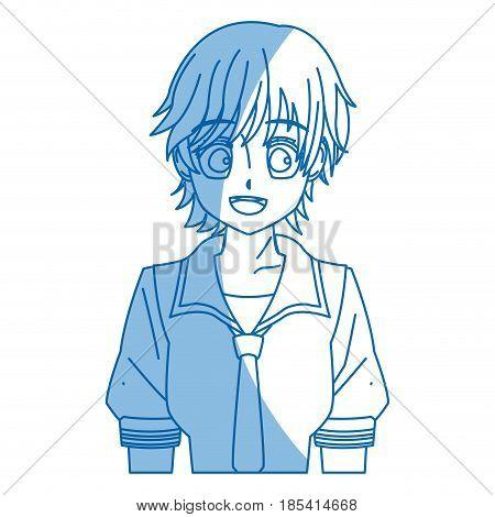 girl teenager anime manga character vector illustration