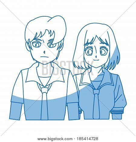 teenager anime boy and girl hair style vector illustration