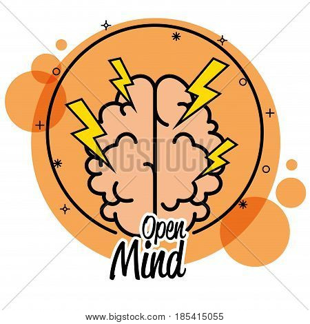 Brain and thunderbolts icon over orange and white background. Vector illustration.