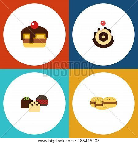 Flat Cake Set Of Cake, Pastry, Biscuit And Other Vector Objects. Also Includes Pastry, Shortcake, Biscuit Elements.