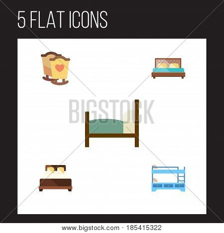 Flat Bedroom Set Of Mattress, Bed, Hostel And Other Vector Objects. Also Includes Hostel, Cot, Child Elements.