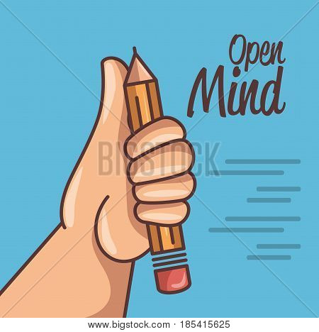 Hand holding a pencil with lines and open mind sign over blue background. Vector illustration.