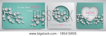 Set of greeting card for mother's day with congratulations text. Cuted paper circle and heart decorated branch of cherry flowers on green background paper cut style. Vector illustration layers isolated