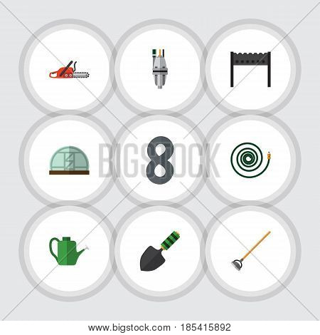 Flat  Set Of Trowel, Hacksaw, Tool And Other Vector Objects. Also Includes Greenhouse, Barbecue, Can Bailer Elements.