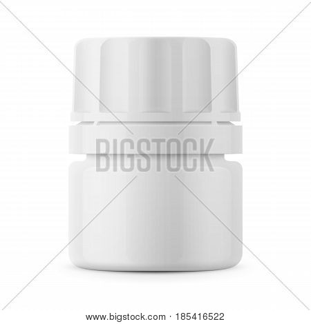 White glossy plastic bottle with screw cap for medicine, tablets, pills. Realistic packaging mockup template. Front view. Vector illustration.