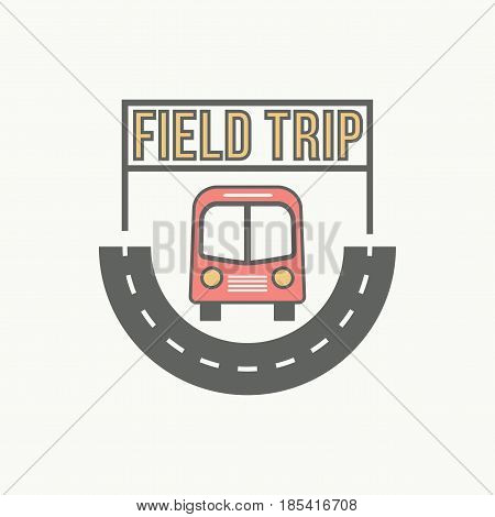 best bus field trip badge logo for traffic service tourism, color emblem, vector flat style illustration isolated
