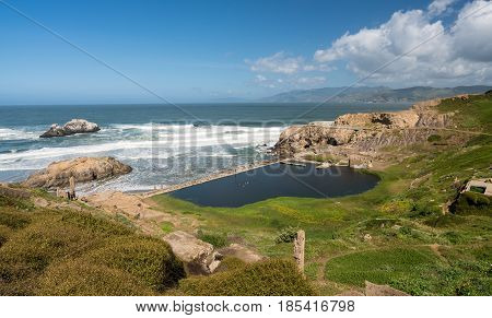 Remains of massive swimming pool complex at Sutro Baths on the coast at Point Lobos near San Francisco, California