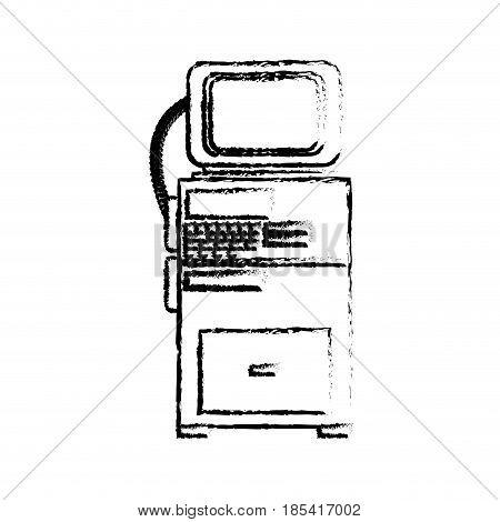 monitor technology exam medical clinic sketch vector illustration