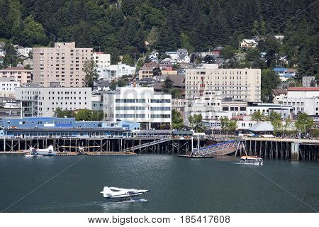The water traffic in Juneau downtown the capital of Alaska.