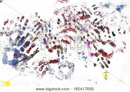 Pattern with kid hand painting, Red and Blue