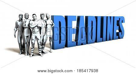 Deadlines Business Concept as a Presentation Background 3D Illustration Render