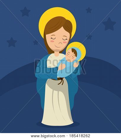 virgin mary and child jesus blue bakcground vector illustration