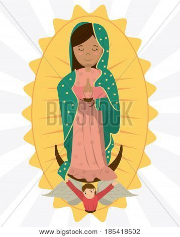 virgin of guadalupe angel devotion image vector illustration