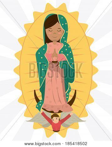virgin of guadalupe angel devotion image vector illustration poster
