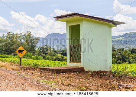 Bus station in countryside in Linha Alegre Mucum Rio Grande do Sul Brazil
